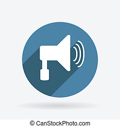 loudspeaker. Circle blue icon with shadow. - loudspeaker...