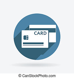 credit card. Circle blue icon