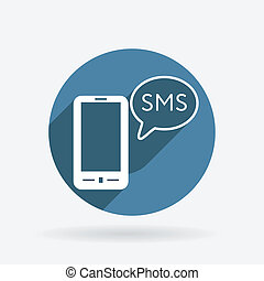 smartphone with cloud of sms dialogue - smartphone with the...