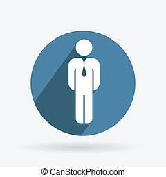 Circle blue icon. business man in a tie