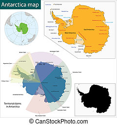 Antarctica Map - Map of the Antarctica drawn with high...