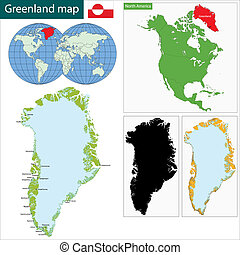 Greenland map - Map of the Greenland drawn with high detail...