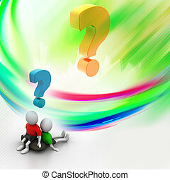 3d people sitting with question