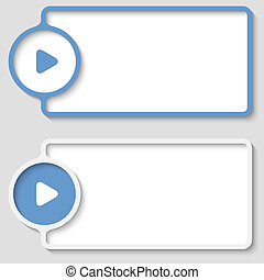 set of two abstract text frame with play symbol