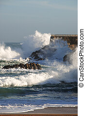 strong waves - storm on the Santander coast Spain