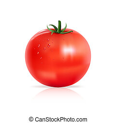 Tomato with water drops.