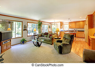 Bright large living room with TV.