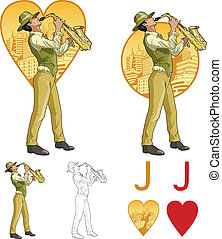 Jack of hearts mixed race musician Mafia card set - Jack of...