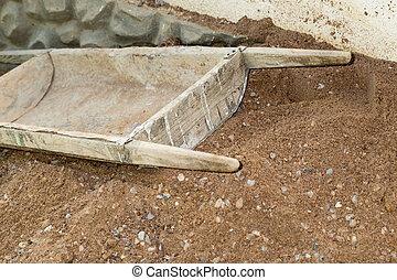 construção, manual, carrinho de mão