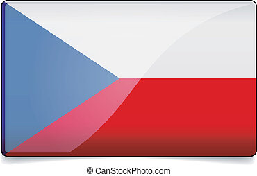 Czech republic flag button with reflection and shadow....