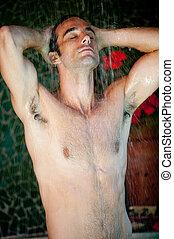 Man Taking Shower - A man taking a shower