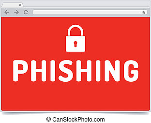 Phishing alert on opened internet browser window with shadow...