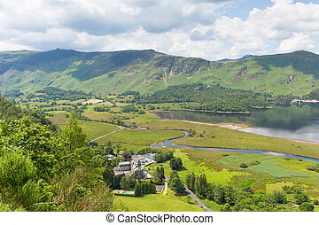 High Spy and Maiden Moor mountains and Derwent Water Lake...