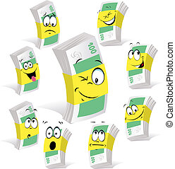 paper money cartoon with many expressions