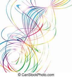 Abstract background with rainbow curved lines on white
