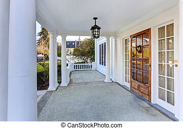 Luxury american house entrance porch