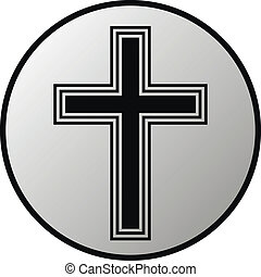 Religious cross button on white background. Vector...