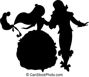 fairy tale dance - Dancing Prince and Princess - Silhouette...