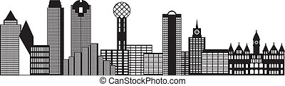 Dallas City Skyline Black and White Outline Illustration -...