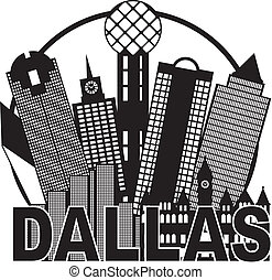Dallas City Skyline Black and White Circle Illustration -...