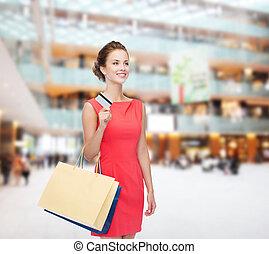 sacolas, mulher,  shopping, plástico, sorrindo, cartão