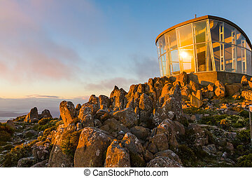 Mount Wellington Tasmania Australia - Lookout at dawn on the...