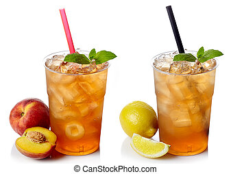 Ice tea - Two plastic glasses of ice tea