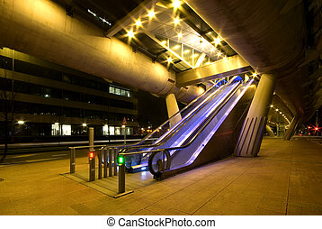 Escalators leading to an above ground tram station, Den...