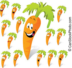 carrot cartoon with many expressions
