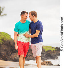 Happy gay couple - Young happy gay couple walking on the...