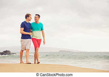 Gay couple - Happy gay couple walking on the beach