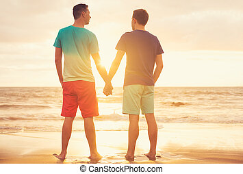 Gay couple watching sunset - Happy gay couple watching...