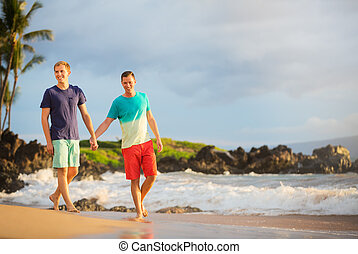Happy gay couple on the beach
