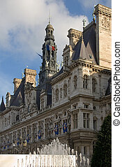 Hotel de Ville, Paris, France - A water feature outside the...