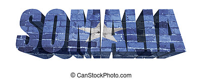 Somali Word - National Flag of Somali on the word of a brick...