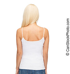 young woman in blank white tank top