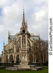 Notre Dame Cathedral - The rear view of the Notre Dame...