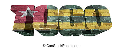 Togo Word - National Flag of Togo on the word of a brick...