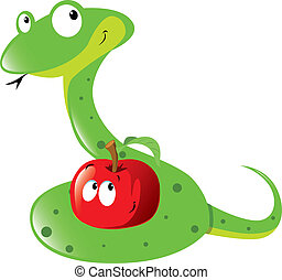 snake and apple  - green snake and red apple