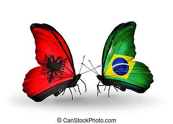 2, 蝶, 旗, 翼, シンボル, 関係, アルバニア,...