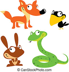 vector forest animals on white background