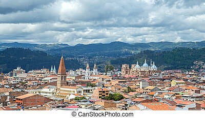 View of the city of Cuenca, Ecuador, with it's many...