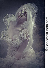 Beauty white woman with gothic dress