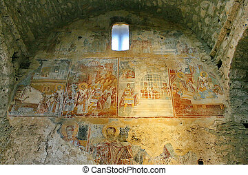 Ancient fresco paintings on the Medieval byzantine fortress...