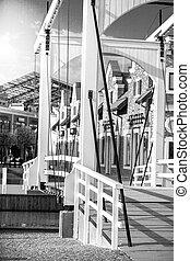 de madera,  Amsterdam, puente levadizo