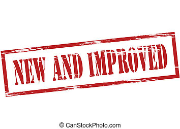 New and improved - Stamp with words new and improved inside,...