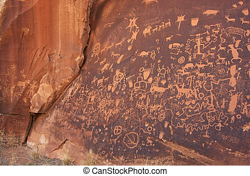 Indian petroglyphs, Newspaper Rock State Historic Monument,...