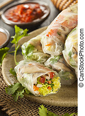 Healthy Vegetarian Spring Rolls with Cilantro Carrots and...