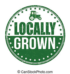Locally grown stamp - Locally grown grunge rubber stamp on...