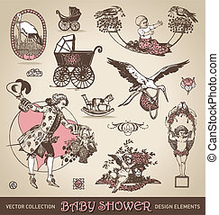 baby shower design elements /vector